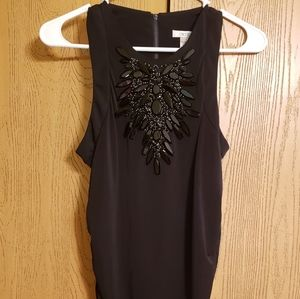 Cache Small Little Black Dress Crystal Neck
